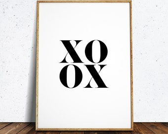 xoxo, xo print, xoxo sign, black and white print, black and white art, wall art, feature wall, instant download printable art