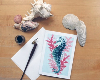 Seahorse Watercolor 5 x 7 Blank Note Greeting Cards