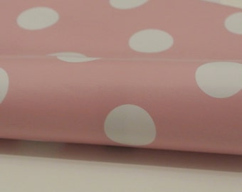 Oilcloth water resistant fat quarter: pink polka dot