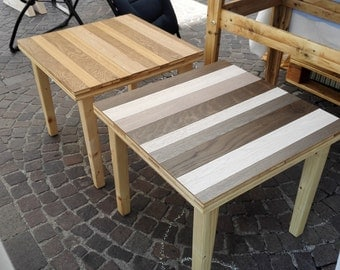 Coffee table with strips of Parquet