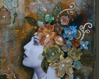 Vintage Lady.Mixed Media art. Original media on Canvas. Art Collage. Steampunk art.