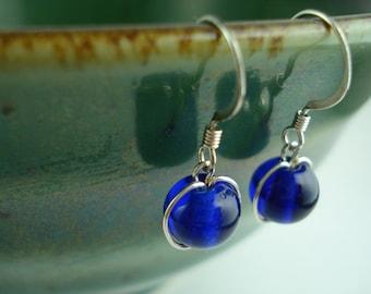 Translucent Midnight Blue Glass Bead Drop Earrings