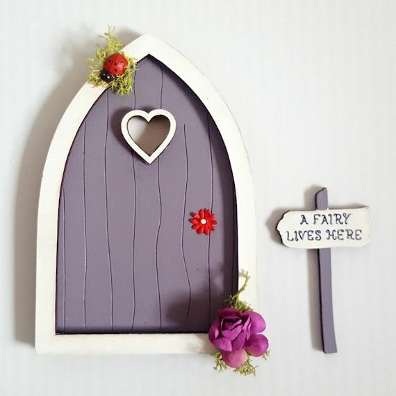 Purple fairy door tooth fairy door sign painted fairy for Purple fairy door