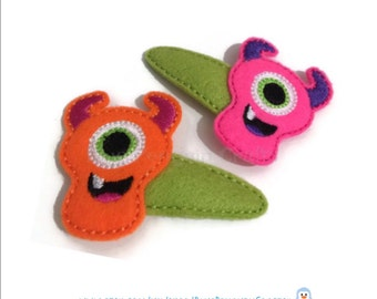 SALE Monster hair clips - Girls hair clips - felt hair clips - Halloween hair clips - pair of hair clips for girls - girls hair accessories