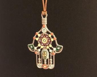 Multicolor Hamsa necklace