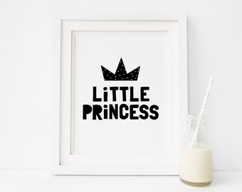 "Nursery Decor ""Little Princess"" Printable Art, Black and White Nursery Art, Kids Room Wall Decor, Instant Download *DIY PRINT*"
