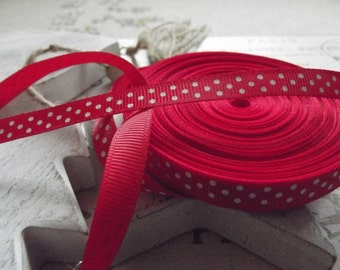 2 Yards of Red Polka Dot Grosgrain Ribbon