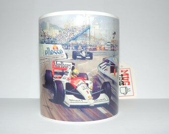 Tribute to Ayrton Senna, triple world champion of Formula 1 - 11oz Ceramic Mug with illustrations (drawings)