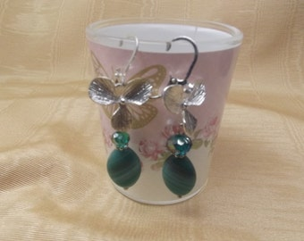Teal Green Orchid Earrings