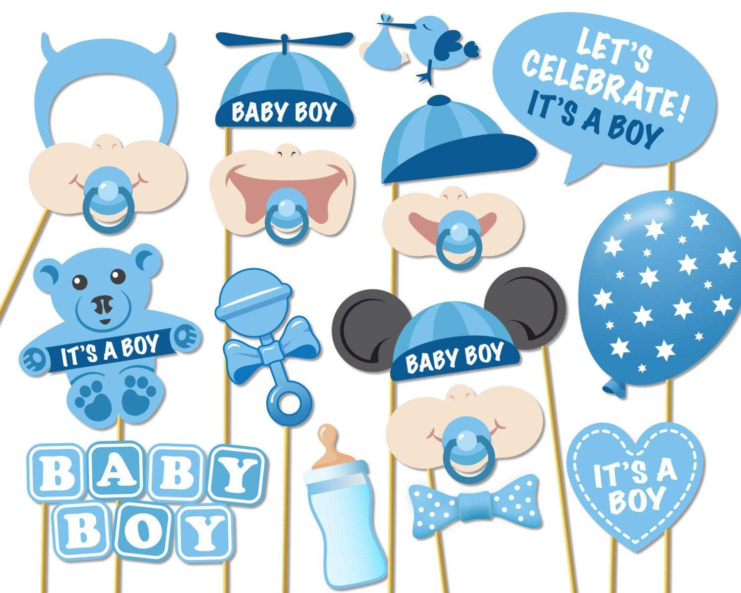 Baby shower photo props it 39 s a boy photo booth props - Photo baby shower ...
