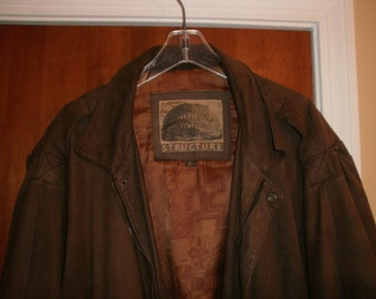 Men's Vintage Brown Soft Leather Flight/Bomber style jacket by Structure SZ XLG