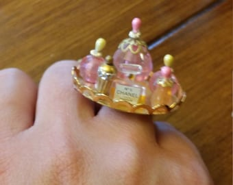 Handmade Perfume bottle gold ring with Chanel bottle