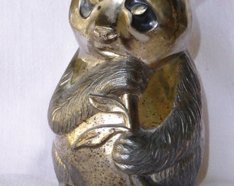 Vintage Silverplate Figural Still Bank of Panda eating Bamboo Shoot.