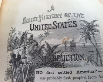 Antique history book A brief history of the u ited states 1880