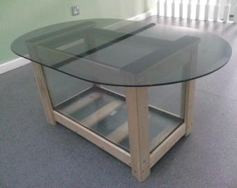Pine Fishtank / Tinted glass-top Coffee Table