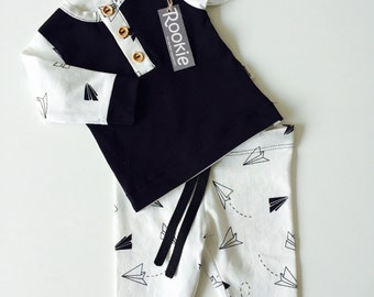 Baby boy white/black plane pajama