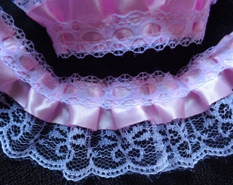1 3/8 inch  wide white/pink gathered lace price for 1 yard