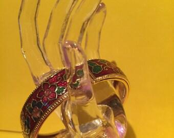 Enamel Bracelet, Vintage Red And Green Enamel Gold Tone Hinged Bangle Bracelet