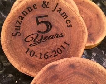 1 Personalized Anniversary Coaster, Custom Coaster, 5 Year Anniversary Wood Gift, Anniversary gift