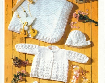 Matinee Coat, Cardigan,Bonnet, Bootees,Mitts and Shawl  Knitting Pattern.