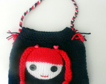 Beautiful Childs/Dolls Dark Blue Hand Knitted Bag.