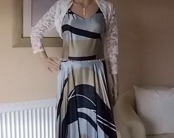 Designer Cocktail Dress Size 10 Uk, Satsuma of London Dress, Womens Clothing Dress, Diamante Belt Fully Lined Dress, 1970s Full Skirt Dress.