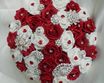 Wedding flowers brides bouquet posie brooch red