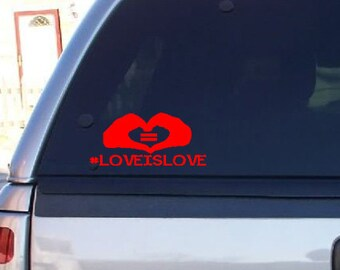 Love Is Love Car Deals LGBT Car Decals Bumper Stickers Equality Hearts #LoveIsLove LGBT Support Equal Rights Car Stickers Window Decals