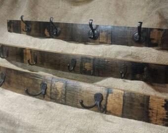 whisky barrel stave coat rack