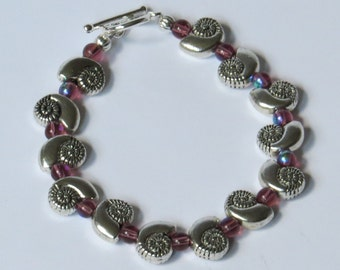 Silver plated nautilus shell bracelet