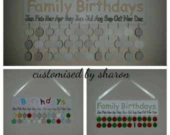 Family birthday calender comes with 24 disks.