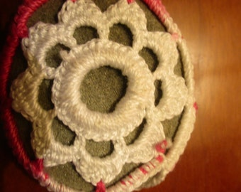 Crochet covered stone with flower- EmiliaCrochet