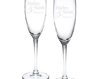 Personalized Mr. & Mrs. Ampersand Toasting Flutes (MICPASETF52)