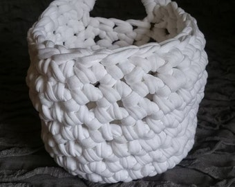 Monochrome Crochet Hanging Basket, Recycled Yarn; Storage