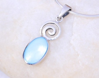 Silver and moonstone pendant, Sterling Silver chain, Silver moonstone charm,  silver necklace, 925 silver, Boho jewelry (P6/2)