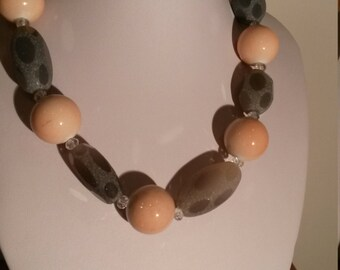 Pink coral and grey stones