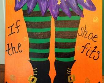 Witch painting Halloween painting Halloween decorations Halloween art Witch boots If the shoe fits