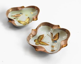 Vintage Hand Painted Porcelain Ashtrays
