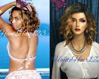 Beyonce Blonde Bob Ombre Darker Human Hair Blend Lace Part Wig