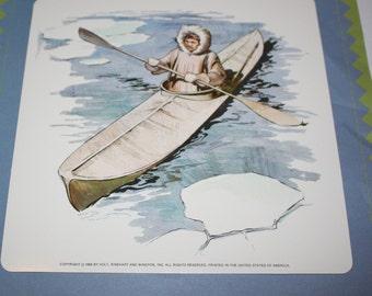 Vintage Double-Sided Large Flash Card - Eskimo Fishing Print - Alaska Fishing Print - Indian Canoe Print - 1960's