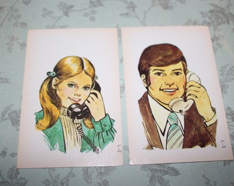 Vintage card with  People Talking on the Phone - Retro Flashcards - Set of 2