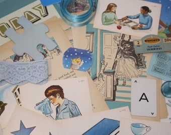 Pretty Blue Ephemera pack - 60+ pieces of mostly vintage paper and cardstock ephemera, stamps, flash cards, ribbon, book pages and more!!