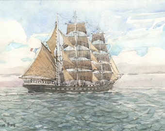 tall ship downwind (watercolor)