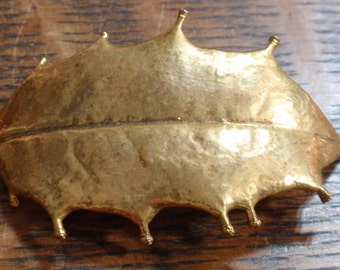 24K Gold Dipped Holly Leaf Brooch