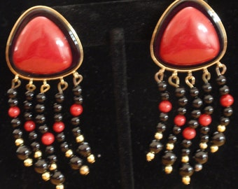 Vintage Red Stone and Bead Clip/Post Earrings