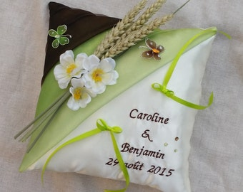 Nature theme wedding ring bearer pillow rustic ears of corn Butterfly flowers green and chocolate, personalized Whoopsidaisies Creation