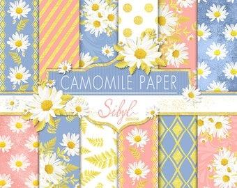 60% OFF SALE, Rose Quartz and Serenity Digital Paper Pack, Camomile Digital Paper, Pink and Blue Floral Digital Paper, Daisy Digital Paper