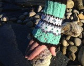 Fairisle woollen open mitts