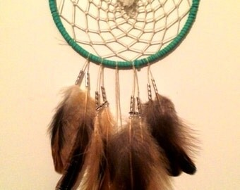 Turquoise Leather Dream Catcher