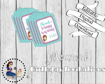 Mermaid Party Favor Tags - Digital Download